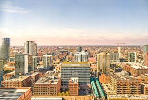 West Loop cityscape with westward perspective in Chicago, USA. Urban skyline.