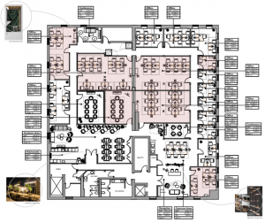 A detailed office floor plan