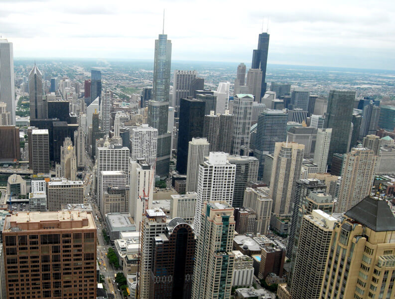 an aerial view of the Chicago skyline