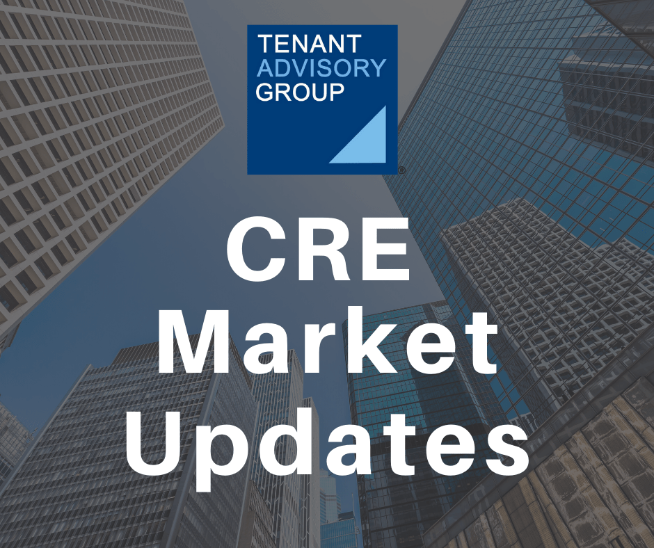 "bottom up view of Chicago buildings with the title, ""CRE Market Updates"" as an overview"