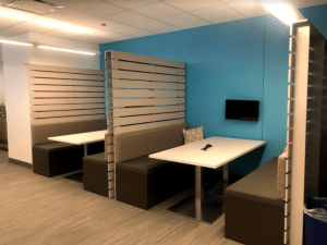 Meeting booths in an office space