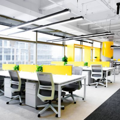 The interior of a newly furnished office space