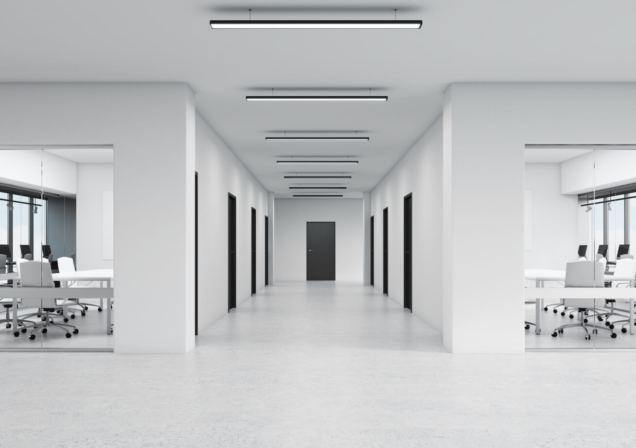 An all white empty interior office space