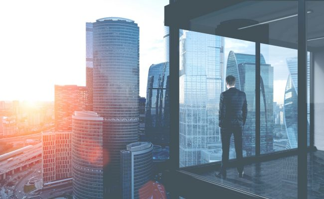 a businessman looking at the city skyline from an office window
