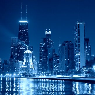 A blue tinted image of the Chicago skyline