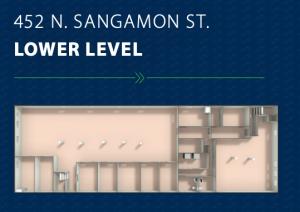 Lower level plan at 452 North Sangamon